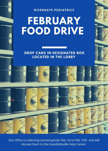 Bring non-perishable food to our Lobby February 1st to 15th